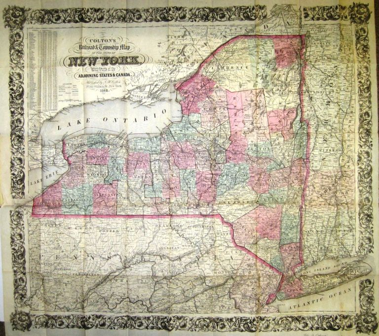 COLTON\'S RAILROAD & TOWNSHIP MAP OF THE STATE OF NEW YORK, WITH ...