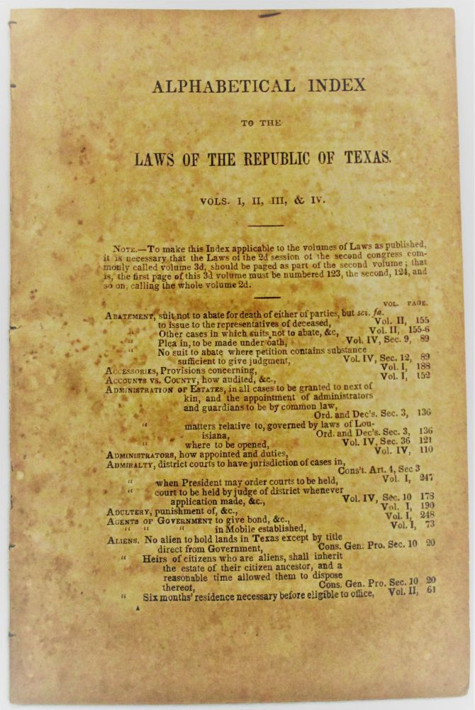 ALPHABETICAL INDEX TO THE LAWS OF THE REPUBLIC OF TEXAS. VOLS. I, II, III, & IV. Texas.