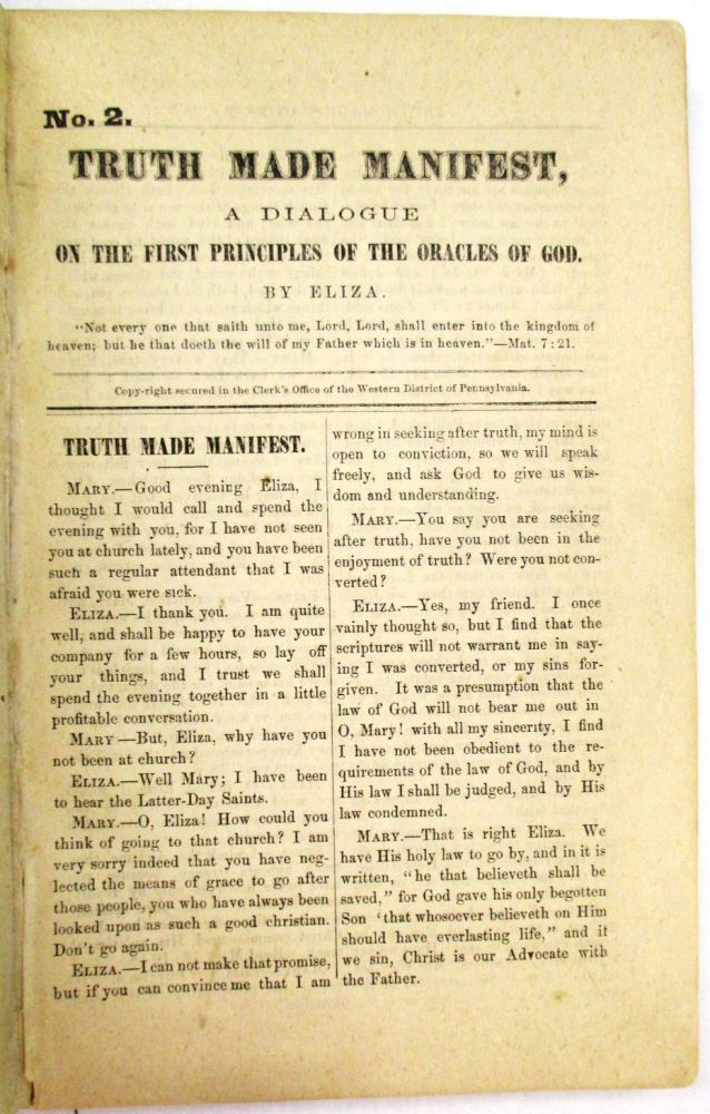 TWENTY-SEVEN PAMPHLETS ISSUED BY THE REORGANIZED CHURCH OF JESUS CHRIST OF LATTER DAY SAINTS. Reorganized Church of Jesus Christ of Latter Day Saints:.