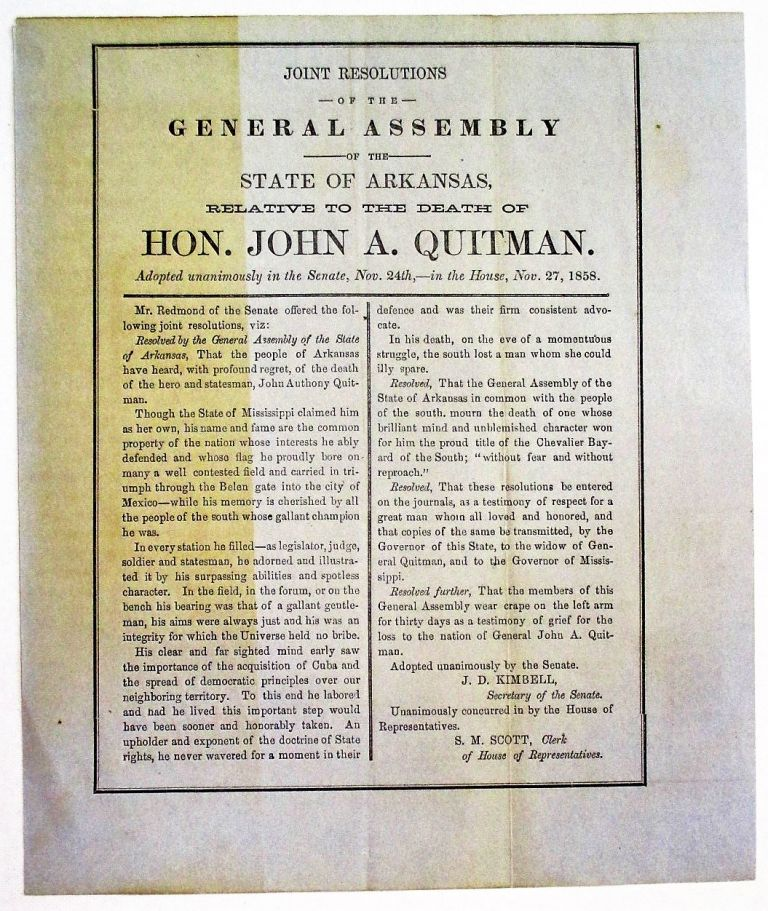 JOINT RESOLUTIONS OF THE GENERAL ASSEMBLY OF THE STATE OF ARKANSAS, RELATIVE TO THE DEATH OF HON. JOHN A. QUITMAN. Arkansas.