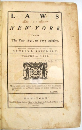 LAWS OF NEW-YORK, FROM THE YEAR 1691, TO 1773 INCLUSIVE. New York.
