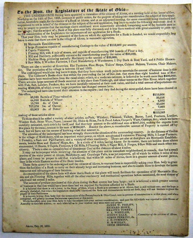 TO THE HON. THE LEGISLATURE OF THE STATE OF OHIO-- THE UNDERSIGNED HAVING BEEN APPOINTED A COMMITTEE OF THE CITIZENS OF AKRON, AT A MEETING HELD AT THE HOUSE OF GEN. NORTHROP ON THE 14TH OF DEC. 1835...FOR THE PURPOSE OF TAKING INTO CONSIDERATION THE SUBJECT OF THEIR APPLICATION, HERETOFORE MADE, FOR THE CHARTER OF A BANK AT AKRON. Bank of Akron.