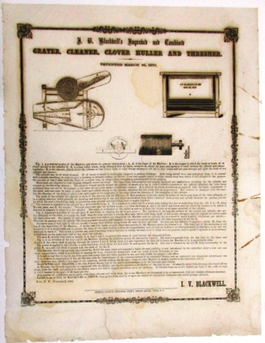 I.V. BLACKWELL'S IMPROVED AND COMBINED GRATER, CLEANER, CLOVER HULLER AND THRESHER. PATENTED MARCH 30, 1858. I. V. Blackwell.