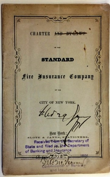 CHARTER AND BY-LAWS OF THE STANDARD FIRE INSURANCE COMPANY OF THE CITY OF NEW YORK. Standard Fire Insurance Company:.