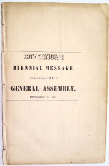 GOVERNOR'S BIENNIAL MESSAGE, DELIVERED TO THE GENERAL ASSEMBLY, DECEMBER 2D 1856. James W. Grimes.