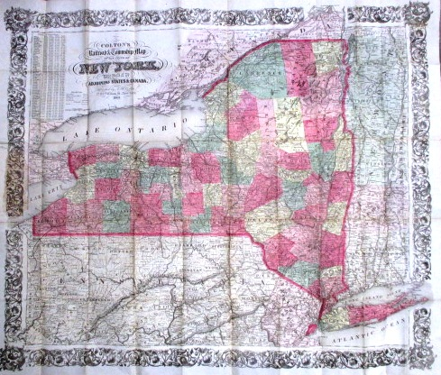 COLTON'S RAILROAD & TOWNSHIP MAP OF THE STATE OF NEW YORK, WITH PARTS OF THE ADJOINING STATES & CANADA. J. H. Colton.