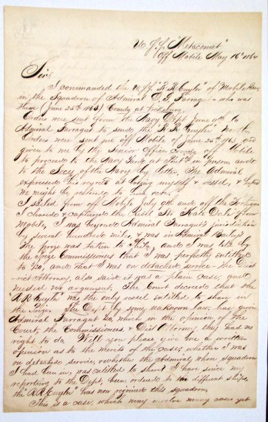 ELEGANTLY WRITTEN AUTOGRAPH LETTER SIGNED, TO NEW YORK ATTORNEY FRANCIS H. UPTON, REGARDING JOUETT'S CAPTURE OF A REBEL BLOCKADE RUNNER AND HIS ENTITLEMENT TO PRIZE MONEY. Lieutenant Commander James E. Jouett.