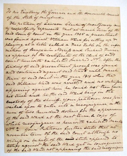 AUTOGRAPH DOCUMENT SIGNED, 7 MAY 1815, AS CHIEF JUSTICE OF THE MARYLAND COURT OF APPEALS, Jeremiah Chase.