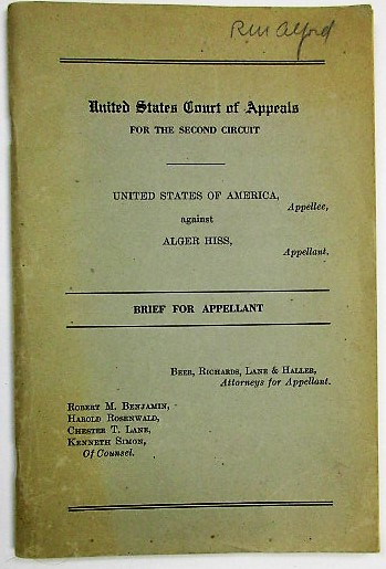 UNITED STATES COURT OF APPEALS FOR THE SECOND CIRCUIT. UNITED STATES OF AMERICA, APPELLEE, AGAINST ALGER HISS, APPELLANT. BRIEF FOR APPELLANT. Alger Hiss.