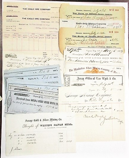 COLLECTION OF 35 WESTERN MINING DOCUMENTS INCLUDING ARTICLES OF INCORPORATION, ASSAY CERTIFICATES, RECEIPTS, DRAFTS. Western Mining.