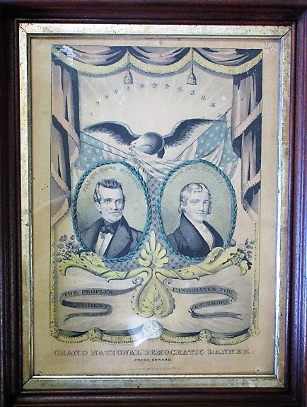 THE PEOPLE'S CANDIDATES FOR PRESIDENT AND VICE PRESIDENT. GRAND NATIONAL DEMOCRATIC BANNER. PRESS ONWARD. Nathaniel Currier, James K. Polk.