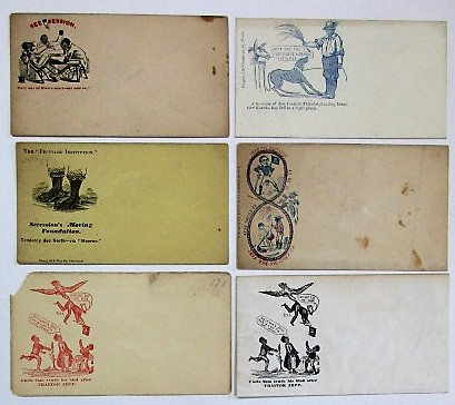 SIX UNUSED UNION POSTAL COVERS WITH CARICATURED IMAGES OF SLAVES;. Civil War - Slavery Postal Covers.