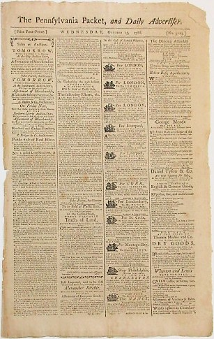 THE PENNSYLVANIA PACKET, AND DAILY ADVERTISER. WEDNESDAY, OCTOBER 15, 1788. African Slave Trade.