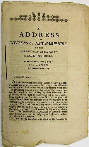 AN ADDRESS TO THE CITIZENS OF NEW-HAMPSHIRE, ON THE APPROACHING ELECTION OF STATE OFFICERS. BY A CITIZEN. A Citizen.