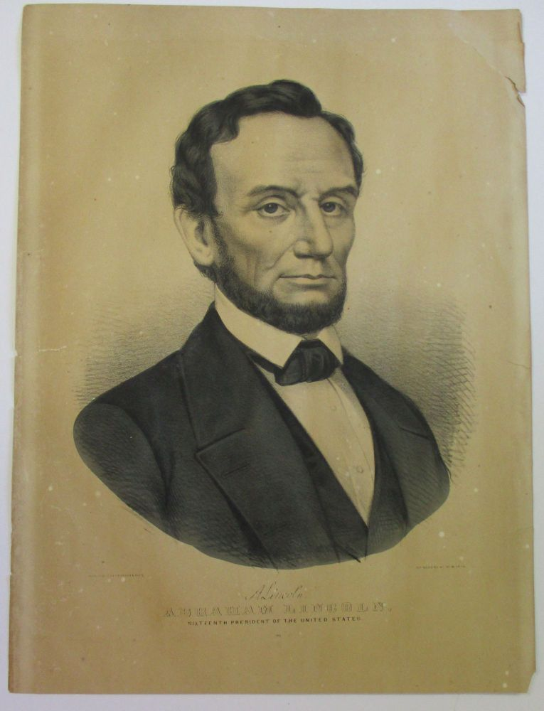 "LITHOGRAPH ENGRAVED BUST PORTRAIT OF ABRAHAM LINCOLN WITH BEARD, FACING RIGHT, LOOKING FRONT. BLACK AND WHITE PRINT. FACSIMILE SIGNATURE ABOVE FULL NAME: ""A. LINCOLN./ ABRAHAM LINCOLN, SIXTEENTH PRESIDENT OF THE UNITED STATES."" Abraham Lincoln."
