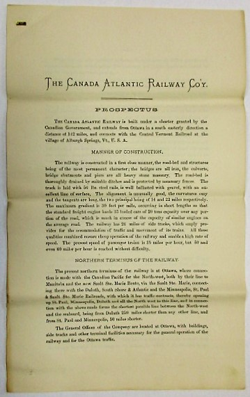 THE CANADA ATLANTIC RAILWAY COMPANY. INCORPORATED BY THE PARLIAMENT OF CANADA. CONTENTS. MAP OF THE RAILWAY. REPORT OF W. SHANLY, C.E. TRUST MORTGAGE DEED TO SECURE FIRST MORTGAGE BONDS. ACTS OF INCORPORATION OF THE RAILWAY. Canada Atlantic Railway Company.