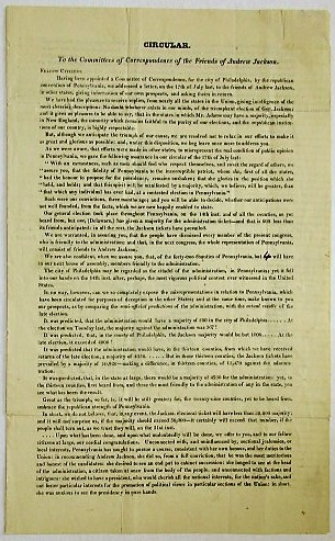 CIRCULAR. TO THE COMMITTEES OF CORRESPONDENCE OF THE FRIENDS OF ANDREW JACKSON. FELLOW CITIZENS. Andrew Jackson.