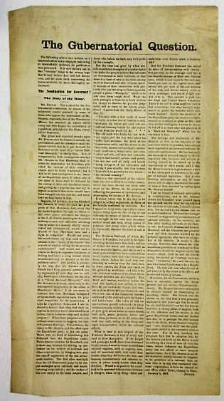 THE GUBERNATORIAL QUESTION. THE FOLLOWING ARTICLE WAS WRITTEN AS A COMMUNICATION TO A NEWSPAPER, BUT OWING TO UNAVOIDABLE ACCIDENT, ITS PUBLICATION WAS PREVENTED. New Hampshire.