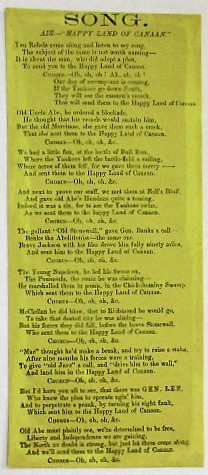 "SONG. AIR- ""HAPPY LAND OF CANAAN."" Confederate Song."