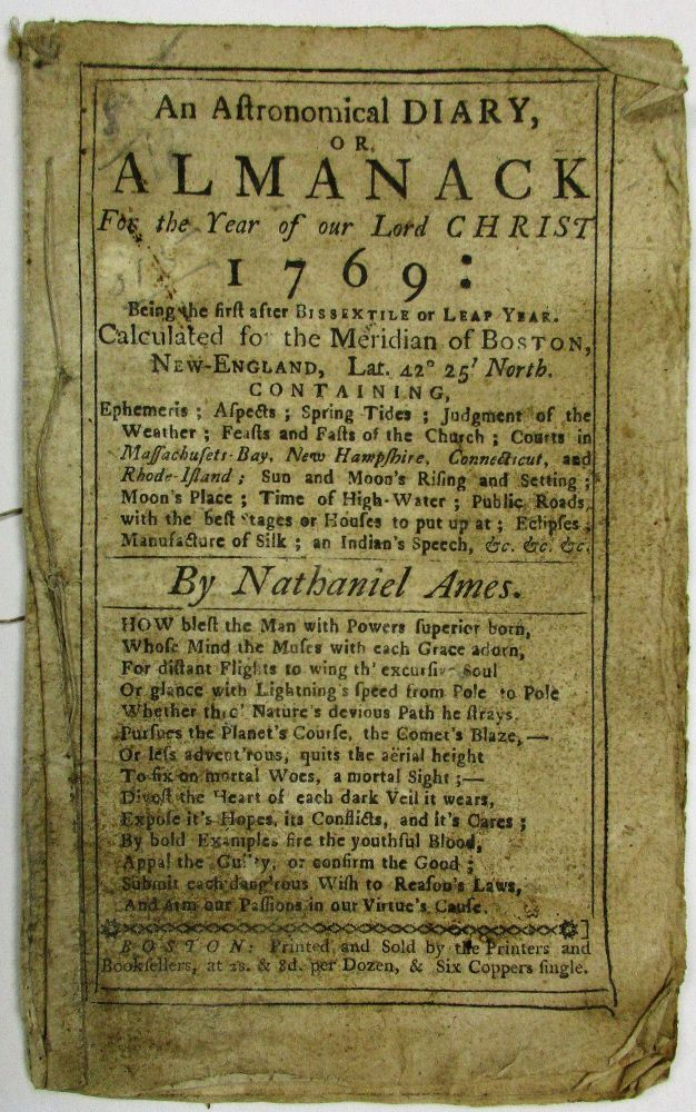 AN ASTRONOMICAL DIARY, OR, ALMANACK FOR THE YEAR OF OUR LORD CHRIST 1769. Nathaniel Ames.