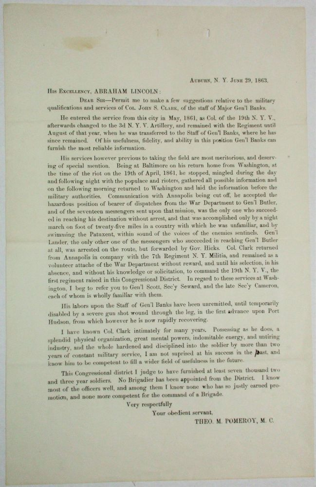 PRINTED LETTER FROM POMEROY TO ABRAHAM LINCOLN, JUNE 29, 1863, RECOMMENDING THAT COLONEL JOHN S. CLARK BE PROMOTED TO BRIGADIER GENERAL. Abraham Lincoln, The M. Pomeroy, dore.