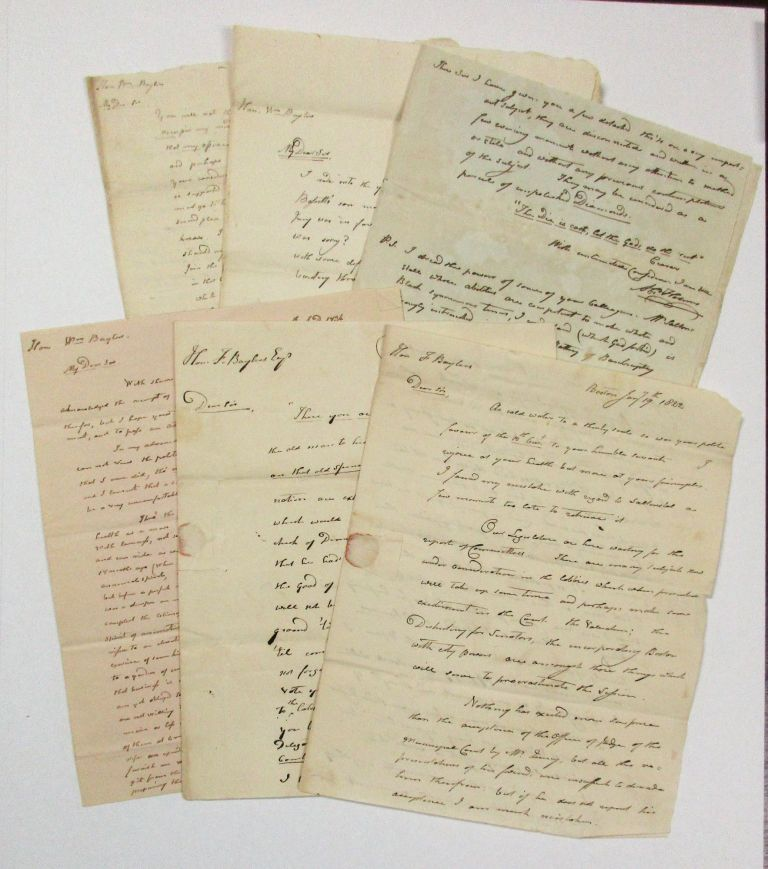 LOT OF SIX LETTERS FROM ABRAHAM HOLMES TO WILLIAM BAYLIES AND FRANCIS BAYLIES, JANUARY 19, 1822 - APRIL 11, 1834. William Baylies, Francis, Abraham Holmes.