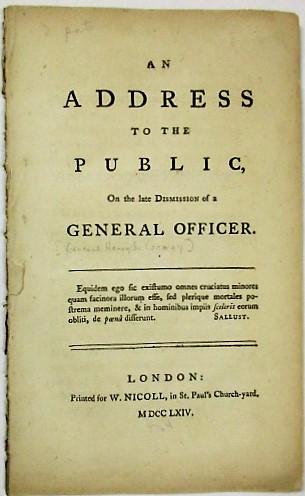 AN ADDRESS TO THE PUBLIC, ON THE LATE DISMISSION OF A GENERAL OFFICER. General Henry Seymour Conway, William Guthrie.