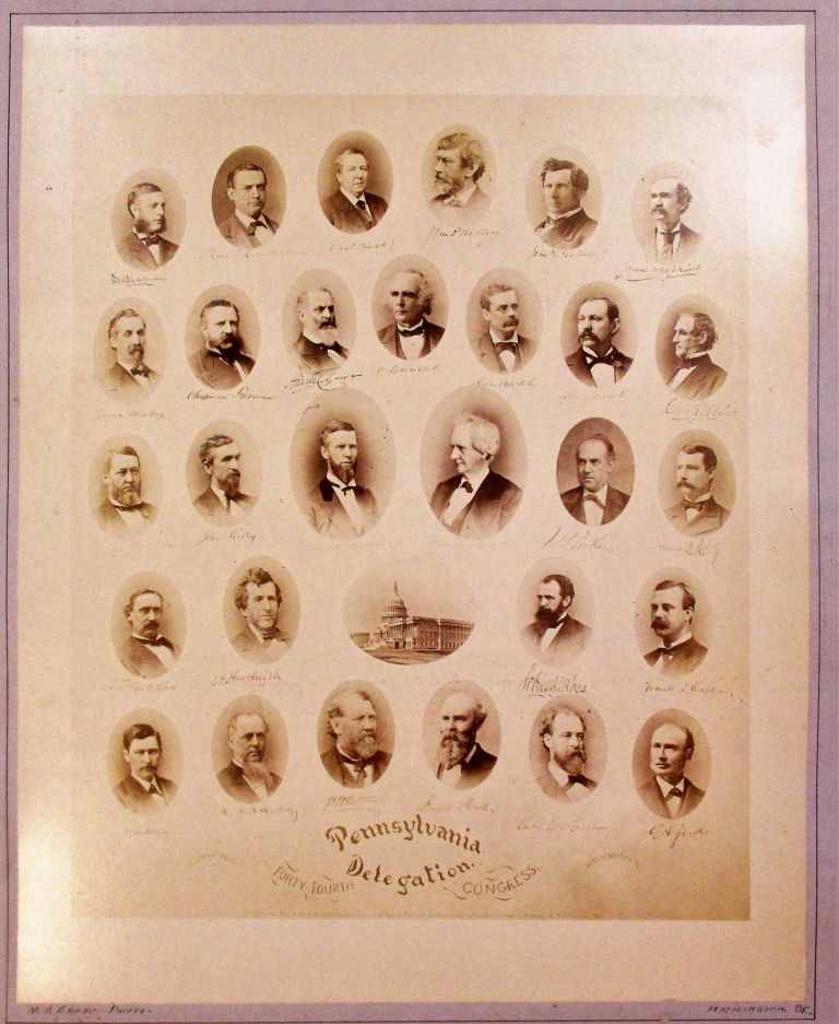 ALBUMEN PRINT OF THE PENNSYLVANIA DELEGATION OF THE FORTY-FOURTH CONGRESS. TWENTY-NINE OVAL, SHOULDER- LENGTH PORTRAITS OF THE MEMBERS OF THE DELEGATION WITH FACSIMILE SIGNATURES UNDER EACH AND A SMALL OVAL PICTURE OF THE UNITED STATES CAPITOL BUILDING. Pennsylvania.
