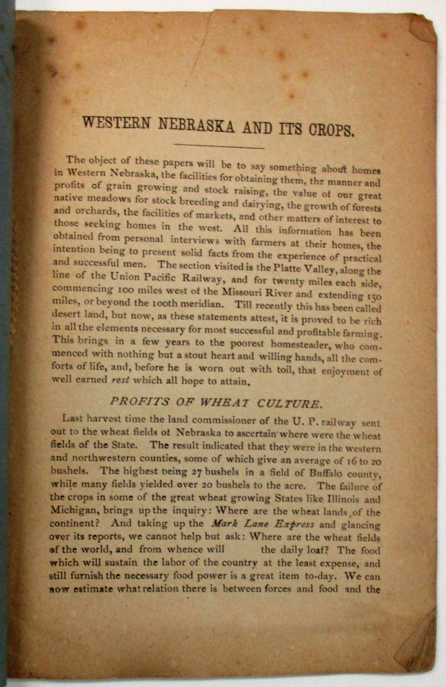 WESTERN NEBRASKA AND THE EXPERIENCES OF ITS ACTUAL SETTLERS. PUBLISHED BY THE UNION PACIFIC R'Y CO.'S LAND DEPARTMENT, OMAHA, NEBRASKA. J. T. Allan.