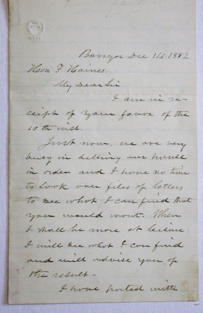 AUTOGRAPH LETTER SIGNED, FROM BANGOR MAINE, 14 DECEMBER 1882, TO F[ERGUSON] HAINES, PROMINENT BIDDEFORD AND PORTLAND MANUFACTURER AND NUMISMATIST, CONCERNING LETTERS FROM ABRAHAM LINCOLN PURPORTEDLY IN HAMLIN'S POSSESSION. Hannibal Hamlin.