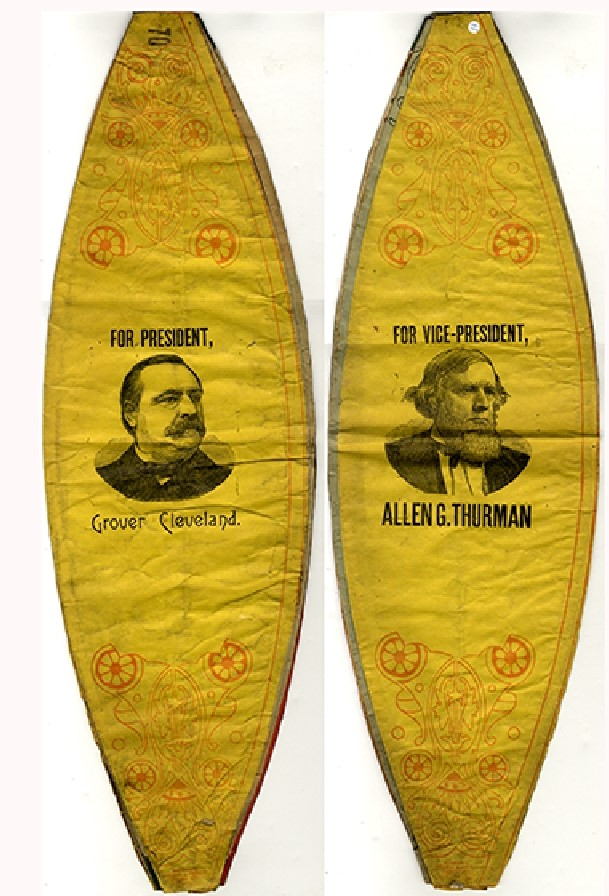 GROVER CLEVELAND AND ALLEN G. THURMAN PRINTED NIGHT PARADE PAPER CAMPAIGN LANTERN. Election of 1888.