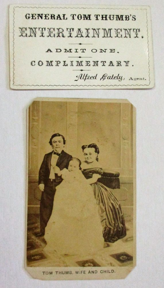 "CARTE-DE-VISITE PORTRAIT OF DWARF PERFORMERS ""TOM THUMB, WIFE AND CHILD"" Charles Stratton, ""Tom Thumb"""