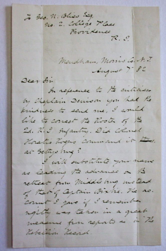 AUTOGRAPH LETTER SIGNED, 7 AUGUST 1882, TO GEORGE BLISS, REGARDING THE BATTLE OF GETTYSBURG. Abner Doubleday.