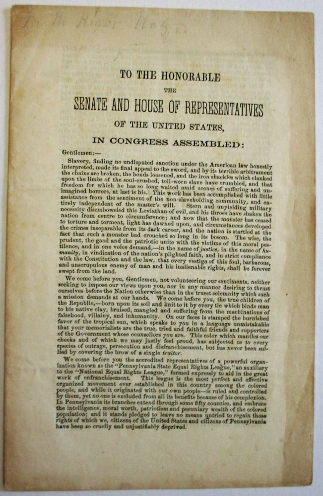 TO THE HONORABLE THE SENATE AND HOUSE OF REPRESENTATIVES OF THE UNITED STATES, IN CONGRESS ASSEMBLED. Pennsylvania State Equal Rights League.