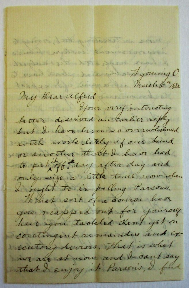 "AUTOGRAPH LETTER SIGNED TO ""MY DEAR ALFRED,"" HIS PRINCETON CLASSMATE, VIVIDLY DESCRIBING MURDERS, LAWLESSNESS, AND MOB VIOLENCE IN CINCINNATI. ""THE CITY HAS NOT BEEN STIRRED UP SO SINCE THE WAR."" Silas E. Hurin."