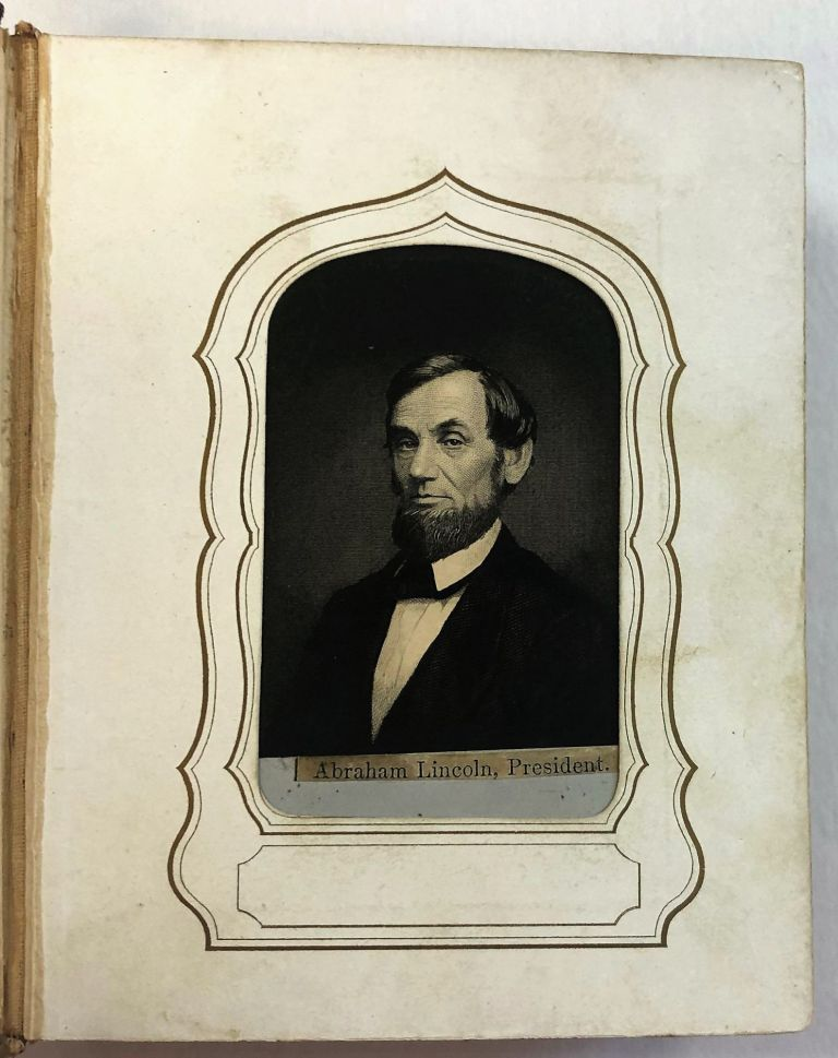 COLLECTION OF FORTY-EIGHT SMALL PORTRAIT ENGRAVINGS OF UNION AND CONFEDERATE LEADERS IN CARTE-DE-VISITE FORMAT, INSERTED INTO A PERIOD ALBUM. Civil War.