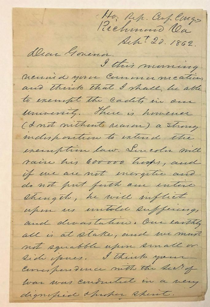 AUTOGRAPH LETTER SIGNED, FROM CONFEDERATE CONGRESSMAN CHILTON AT RICHMOND, TO ALABAMA GOVERNOR JOHN GILL SHORTER, 20 SEPTEMBER 1862, ON PROGRESS AND TACTICS OF THE WAR, ABRAHAM LINCOLN, AND POLITICAL MATTERS. Chilton, illiam, arish.