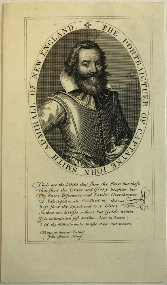 "ETCHING AND ENGRAVING FROM CAPTAIN JOHN SMITH'S 1616 MAP OF NEW ENGLAND: ""THE PORTRAICTUER OF CAPTAYNE JOHN SMITH ADMIRALL OF NEW ENGLAND"" John Smith."