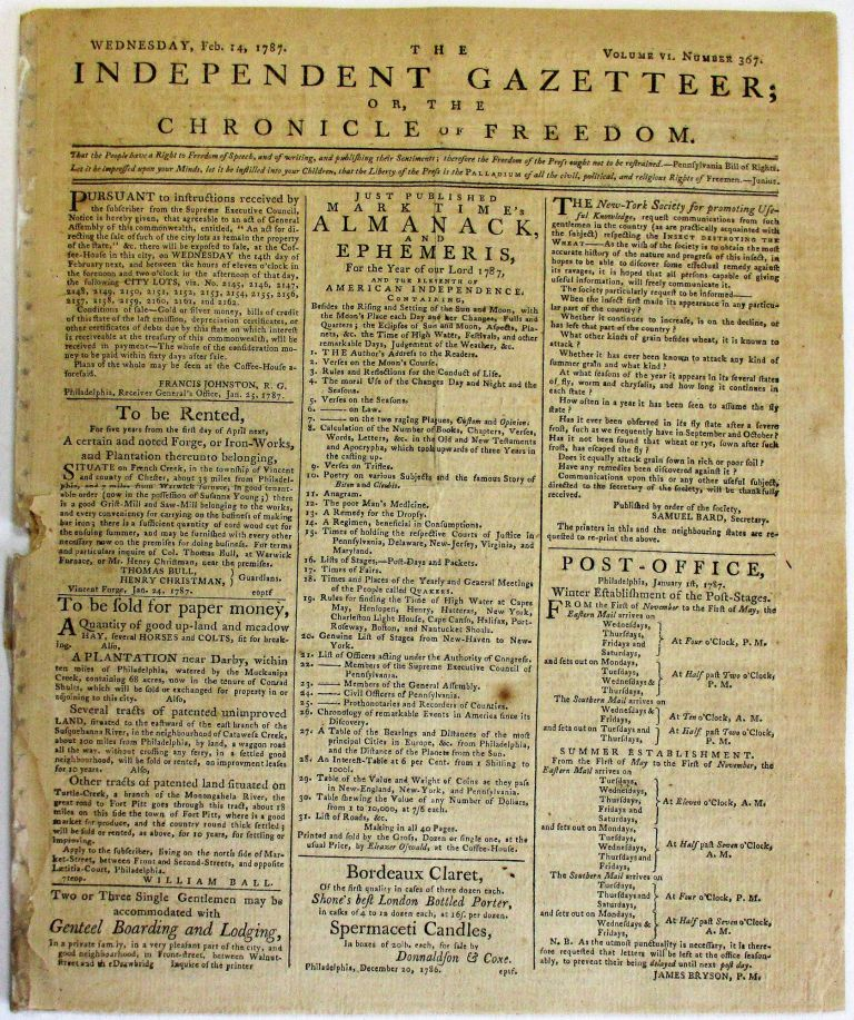 EIGHT 1787 ISSUES OF THE INDEPENDENT GAZETTEER; OR, THE CHRONICLE OF FREEDOM. Eleazer Oswald.