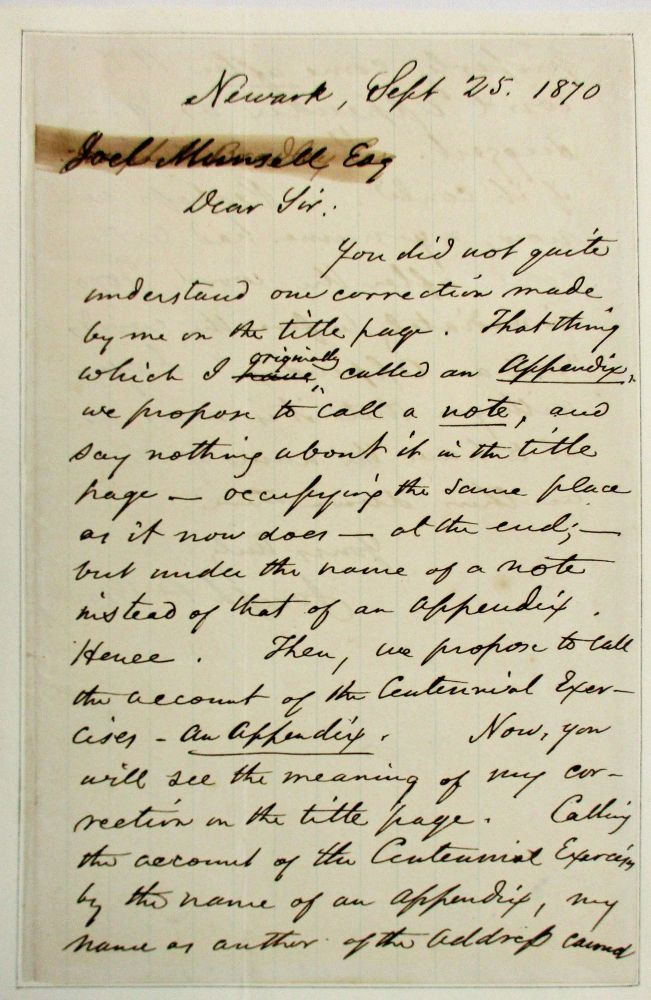 AUTOGRAPH LETTER SIGNED, AS ASSOCIATE JUSTICE OF THE UNITED STATES SUPREME COURT, TO PUBLISHER JOEL MUNSELL, 25 SEPTEMBER 1870, REGARDING CORRECTIONS TO AN ESSAY BEFORE PUBLICATION. Joseph P. Bradley.