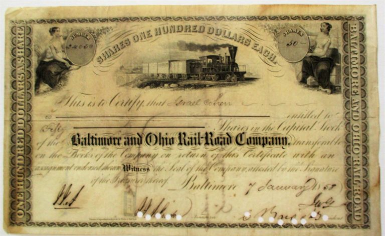 ENGRAVED BALTIMORE & OHIO RR STOCK CERTIFICATE CERTIFYING ISRAEL COHEN'S OWNERSHIP OF FIFTY SHARES OF THE COMPANY'S CAPITAL STOCK, 7 JANUARY 1858. Judaica, Israel Cohen.