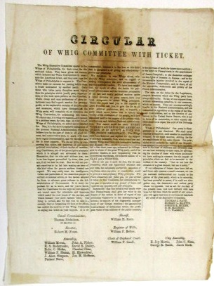 CIRCULAR OF WHIG COMMITTEE WITH TICKET. Whig Party of Philadelphia