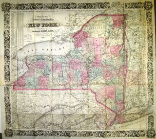 COLTON'S RAILROAD & TOWNSHIP MAP OF THE STATE OF NEW YORK, WITH PARTS OF THE ADJOINING STATES &...