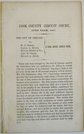 COOK COUNTY CIRCUIT COURT, JUNE TERM, 1857. THE CITY OF CHICAGO VS. H.C. FOSTER, SAMUEL A. HATCH,...