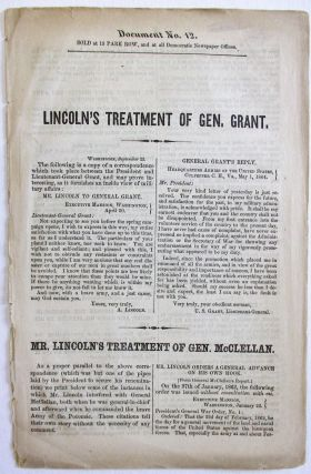 LINCOLN'S TREATMENT OF GEN. GRANT. Abraham Lincoln.