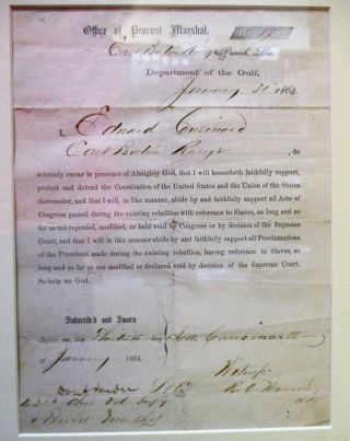 GROUP OF THREE LOYALTY OATHS SIGNED BY FORMER CONFEDERATES. [1] WHEREAS, ANDREW JOHNSON,...
