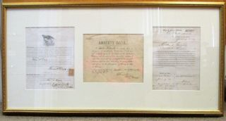 "GROUP OF THREE LOYALTY OATHS SIGNED BY FORMER CONFEDERATES. [1] WHEREAS, ANDREW JOHNSON, PRESIDENT OF THE UNITED STATES, DID, ON THE 7TH DAY OF SEPTEMBER, A.D., 1867, ISSUE A PROCLAMATION PROCLAIMING FULL PARDON TO CERTAIN PERSONS ENGAGED IN THE LATE REBELLION, CONDITIONED UPON TAKING AND SUBSCRIBING A CERTAIN OATH THEREIN SET FORTH AND HERETO ATTACHED AND HEREIN INSERTED...'I THOMAS K. DAVIS DO SOLEMNLY SWEAR, [OR AFFIRM,] ..."" [At head: Printed and Sold by R.A. Waters, Penn. Ave. Cor. 13th Street. With a postal stamp and Washington DC cancel]. [2] ""AMNESTY OATH. I, ARTHUR MCMURTRY, DO SOLEMNLY SWEAR IN THE PRESENCE OF ALMIGHTY GOD THAT I WILL HEREAFTER FAITHFULLY DEFEND THE CONSTITUTION OF THE UNITED STATES AND THE UNION OF STATES THEREUNDER; AND THAT I WILL IN LIKE MANNER ABIDE BY AND SUPPORT ALL LAWS AND PROCLAMATIONS WHICH HAVE BEEN MADE DURING THE EXISTING REBELLION WITH REFERENCE TO THE EMANCIPATION OF SLAVERY; SO HELP ME GOD. SWORN AND SUBSCRIBED TO BEFORE ME THIS 5 DAY OF JULY, 1865, AT GALVESTON, TEXAS."" SIGNED BY ARTHUR MCMURTRY AND WITNESSED BY H. BEARD, CAPT. AND PRO. MARSHAL.; [3] ""OFFICE OF PROVOST MARSHAL, EAST BATON ROUGE PARISH, LA. DEPARTMENT OF THE GULF, JANUARY 30, 1864. I, EDWARD COUSINARD