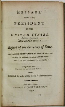 MESSAGE FROM THE PRESIDENT OF THE UNITED STATES, ACCOMPANYING A REPORT OF THE SECRETARY OF STATE,...