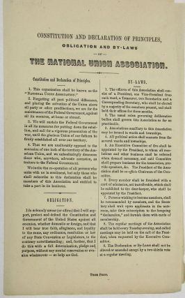 CONSTITUTION AND DECLARATION OF PRINCIPLES, OBLIGATION AND BY-LAWS OF THE NATIONAL UNION...