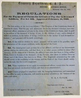 TREASURY DEPARTMENT, C.S.A., SECOND AUDITOR'S OFFICE, RICHMOND, JUNE 24, 1862. REGULATIONS FOR...
